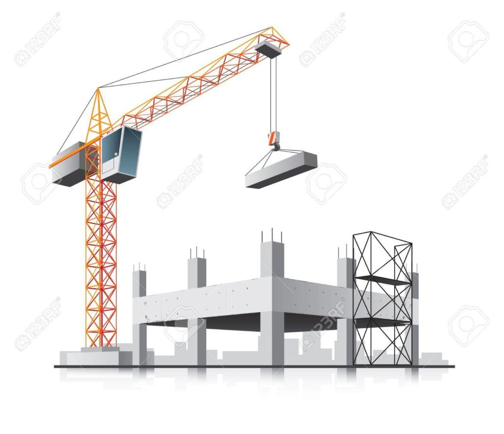 building with crane. Construction clipart house construction png freeuse