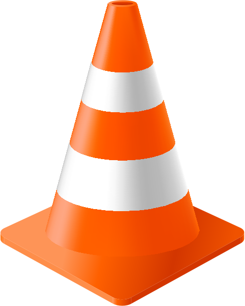 Safety vector cone. Orange traffic data for