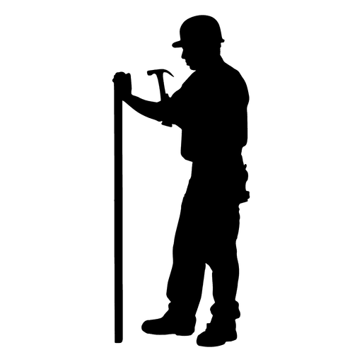 Construction hammering silhouette png. Worker vector transparent svg library