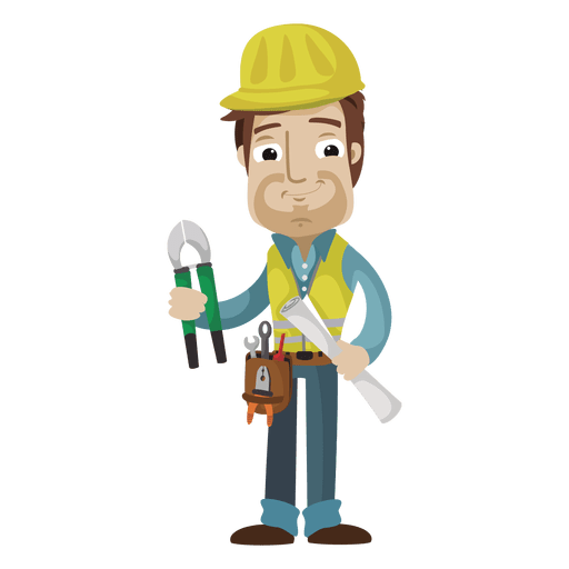 Construction cartoon illustration png. Worker vector transparent png black and white download