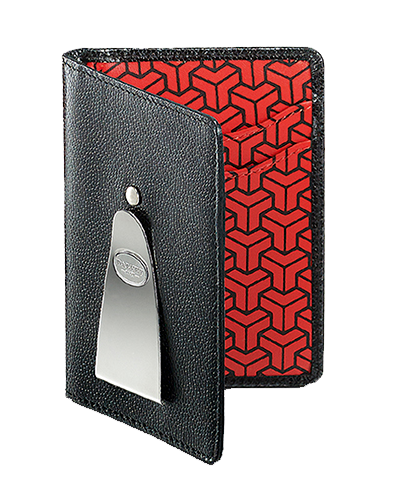 Continental clip grey. Red geometric wallet lumigem