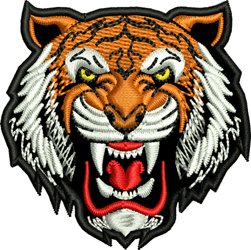 Continental clip tiger. Mascot iron on patch