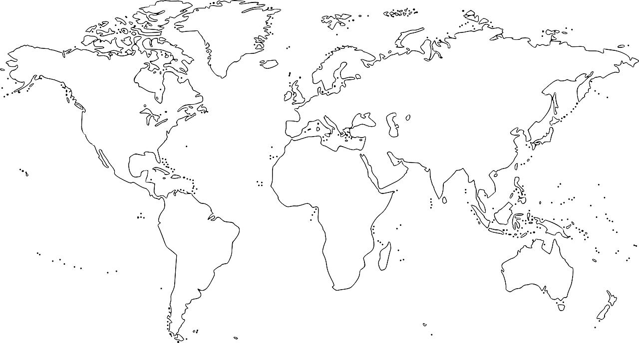 Continents drawing. World map silhouette black