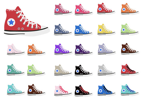 Chuck taylor tops shoe. Converse clipart high top converse png black and white download