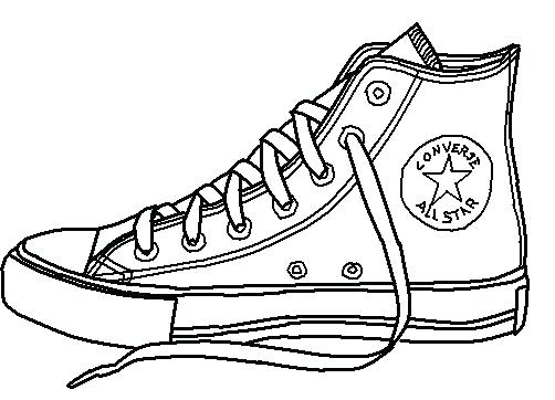 Shoe outline free front. Converse clipart high top converse vector black and white