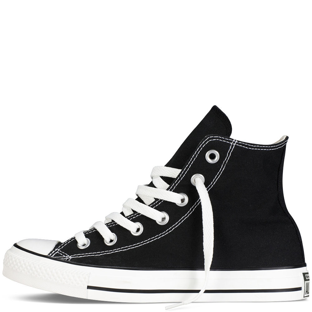 Converse transparent black. White high top on
