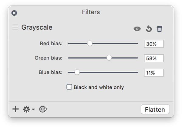 Convert color png to black and white. Acorn screen shot at