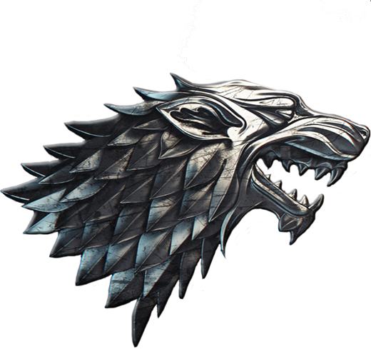 Convert image to png with transparent background. House stark steel emblem
