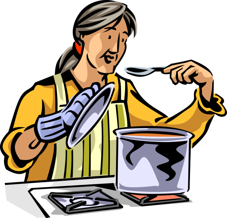 Cook clipart home made food. Senior citizen chef cooks
