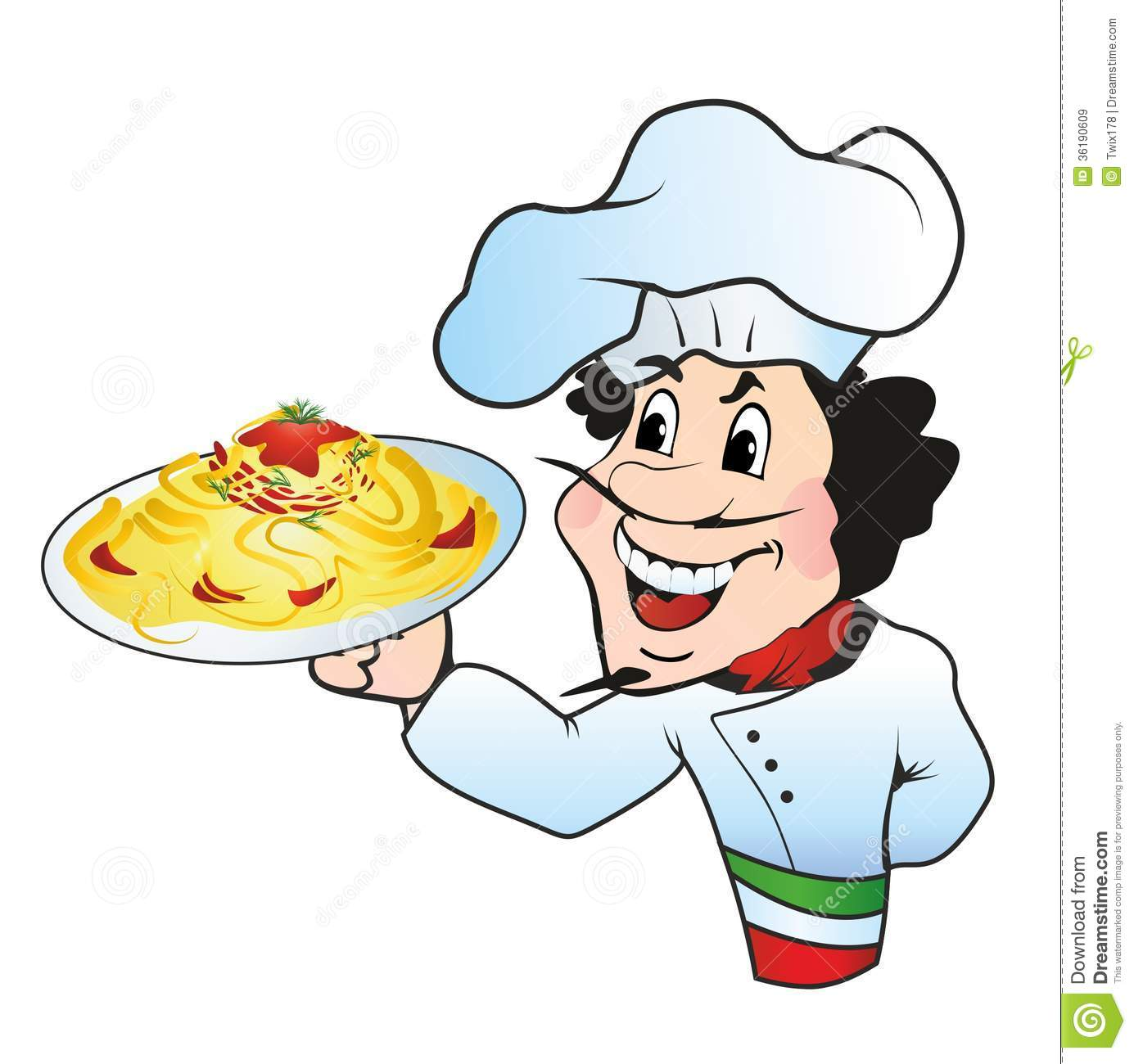 Cook clipart pasta chef. With a plate of jpg