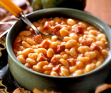 Cookbook clipart bean soup. Iron kettle ham and