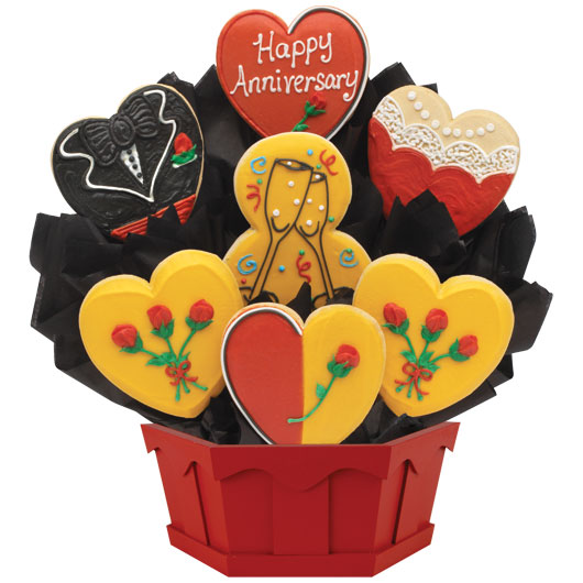 Cookie clipart basket cookie. Happy anniversary wishes bouquet