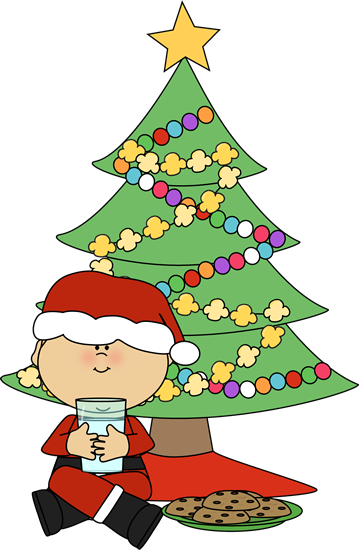 Cookie clipart boy. Santa with cookies and