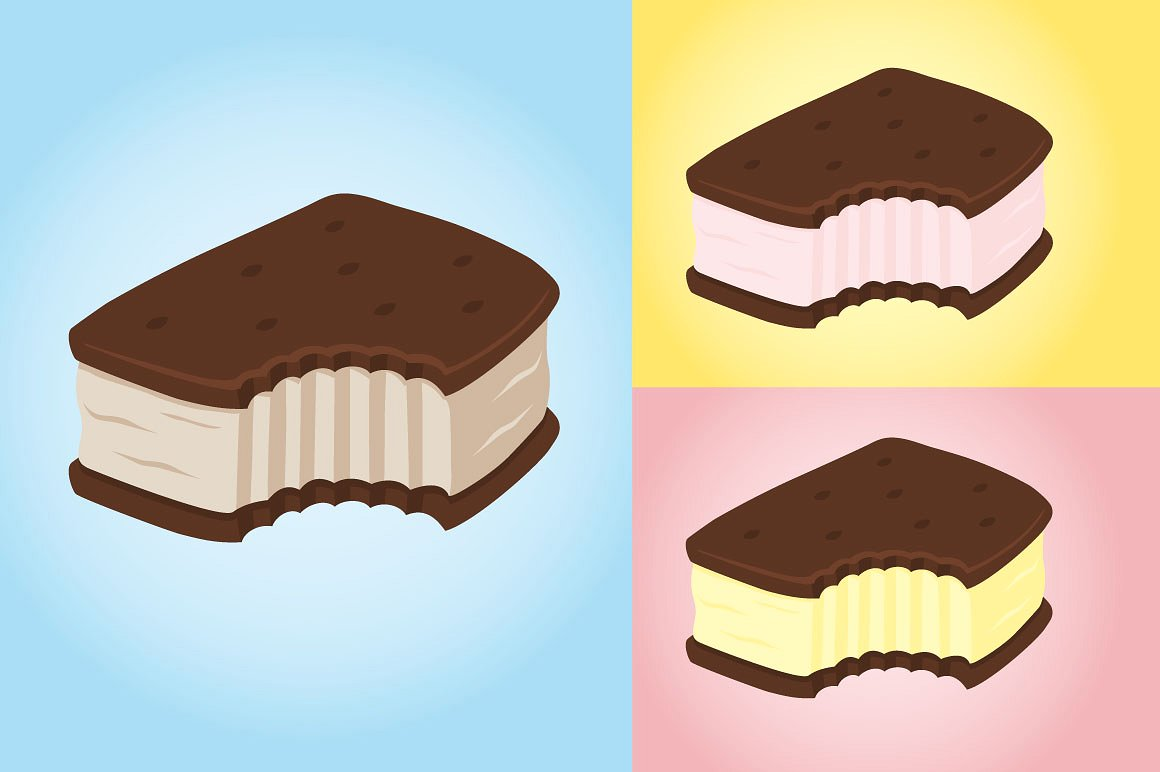 Cookie clipart ice cream sandwich. Graphics creative market