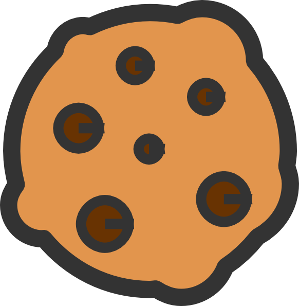Chip drawing chocolate cookie. Plate of cookies clipart