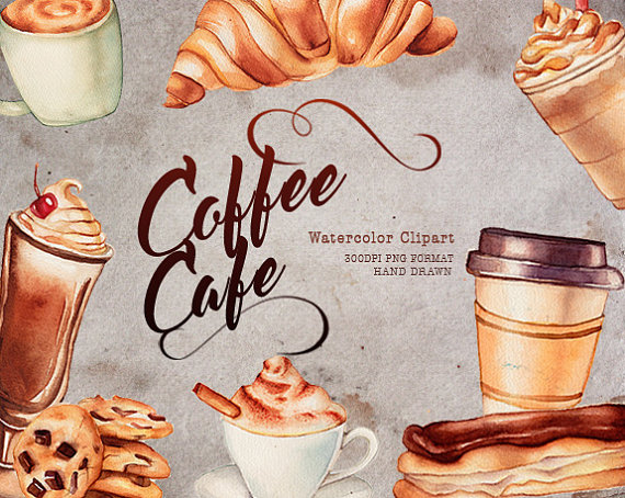 Cookies clipart coffee. Cafe food watercolor graphics
