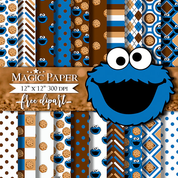 Cookies clipart cookie monster cookie. Digital paper scrapbook png