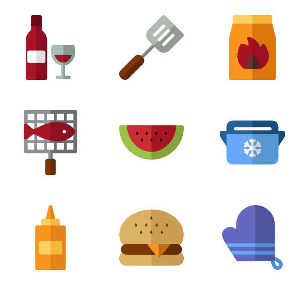 Cooking transparent minimalist. Icons free vector barbecue