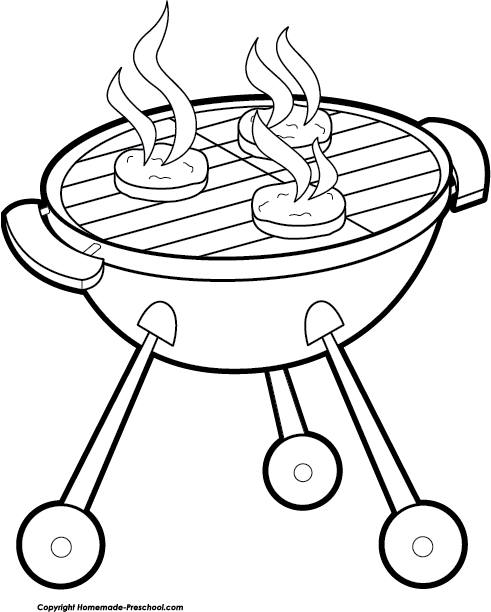 Cookout clipart black and white.