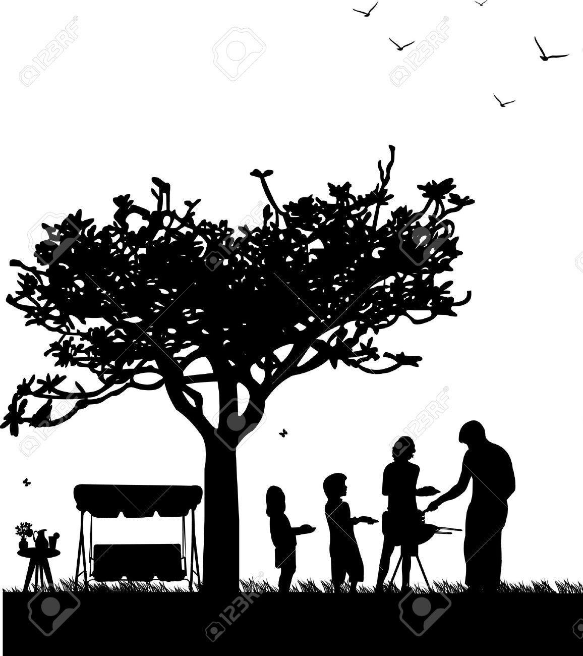 Cookout clipart black family. Bbq image group grill