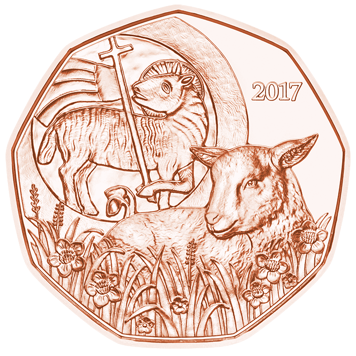 Copper drawing. Easter lamb euro coin