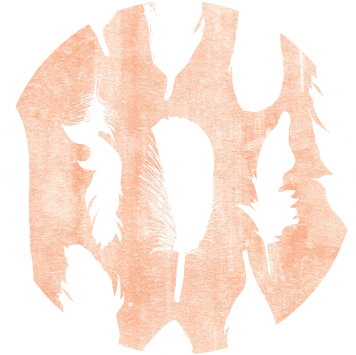 Coral feathers png. Label bold badger design