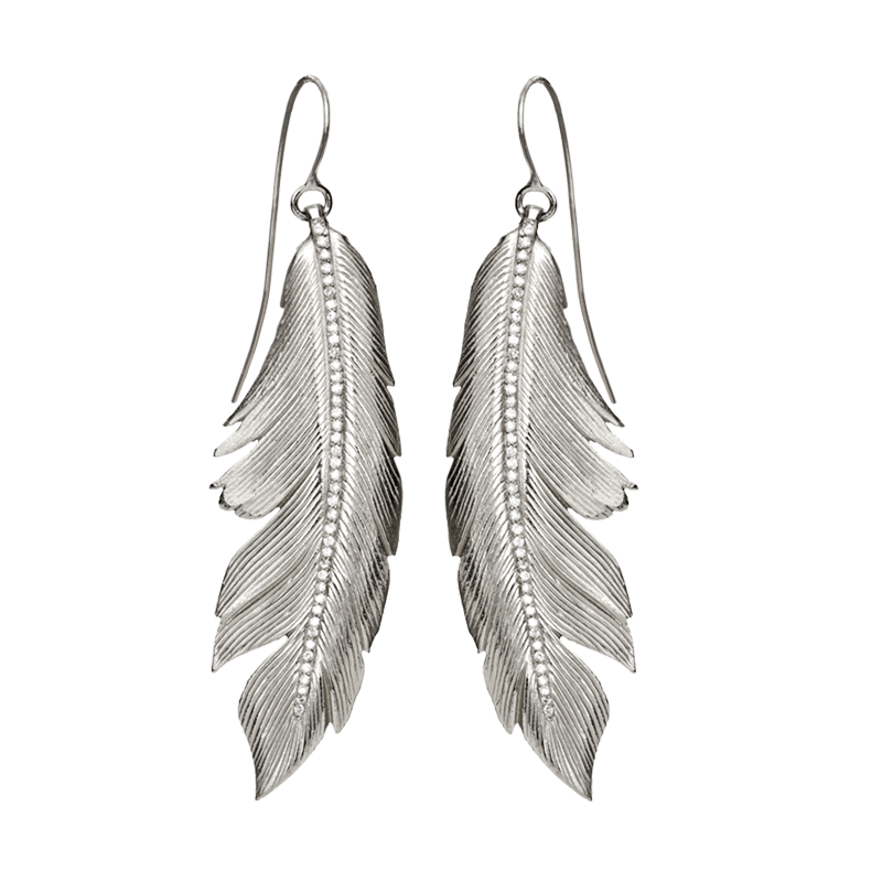 Coral feathers png. Feather earrings big pav