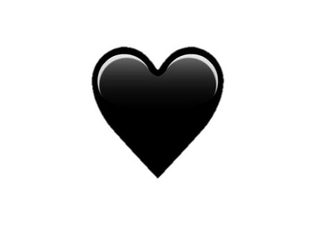Corazón png black tumblr white heart. Corazon negro emoji love