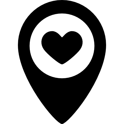 Corazón png love icon. Location pointer with a