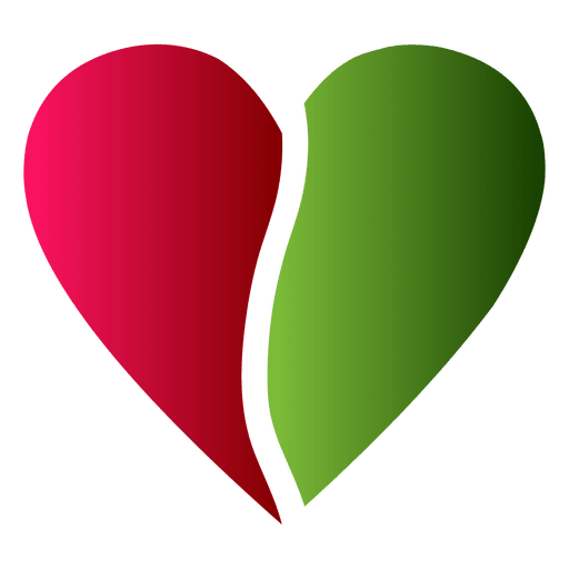 Colorful vector heart. Logo half red and