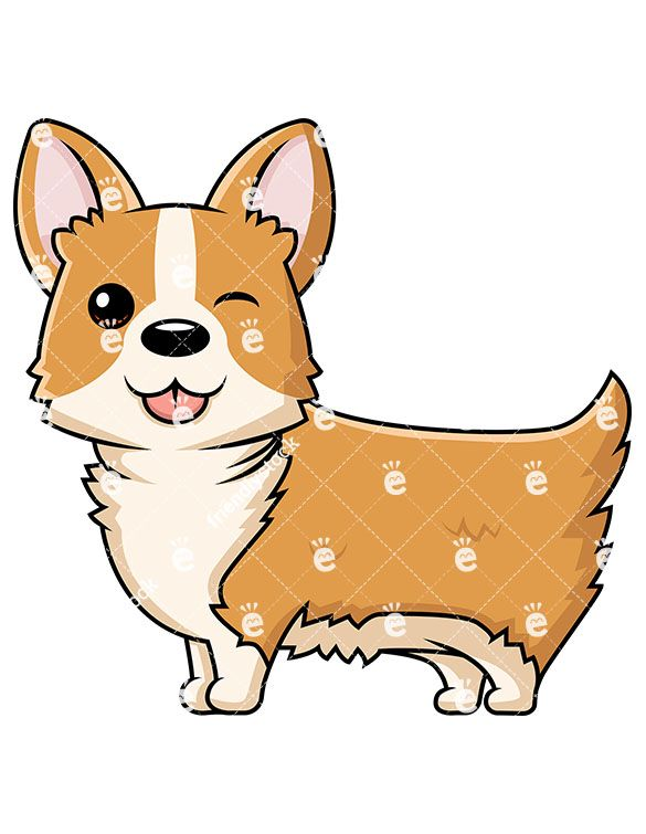 Cute dog winking vector. Corgi clipart svg black and white