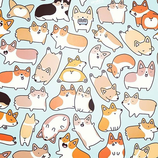 Doggggies drawing cartoon cute. Corgi clipart chibi royalty free library