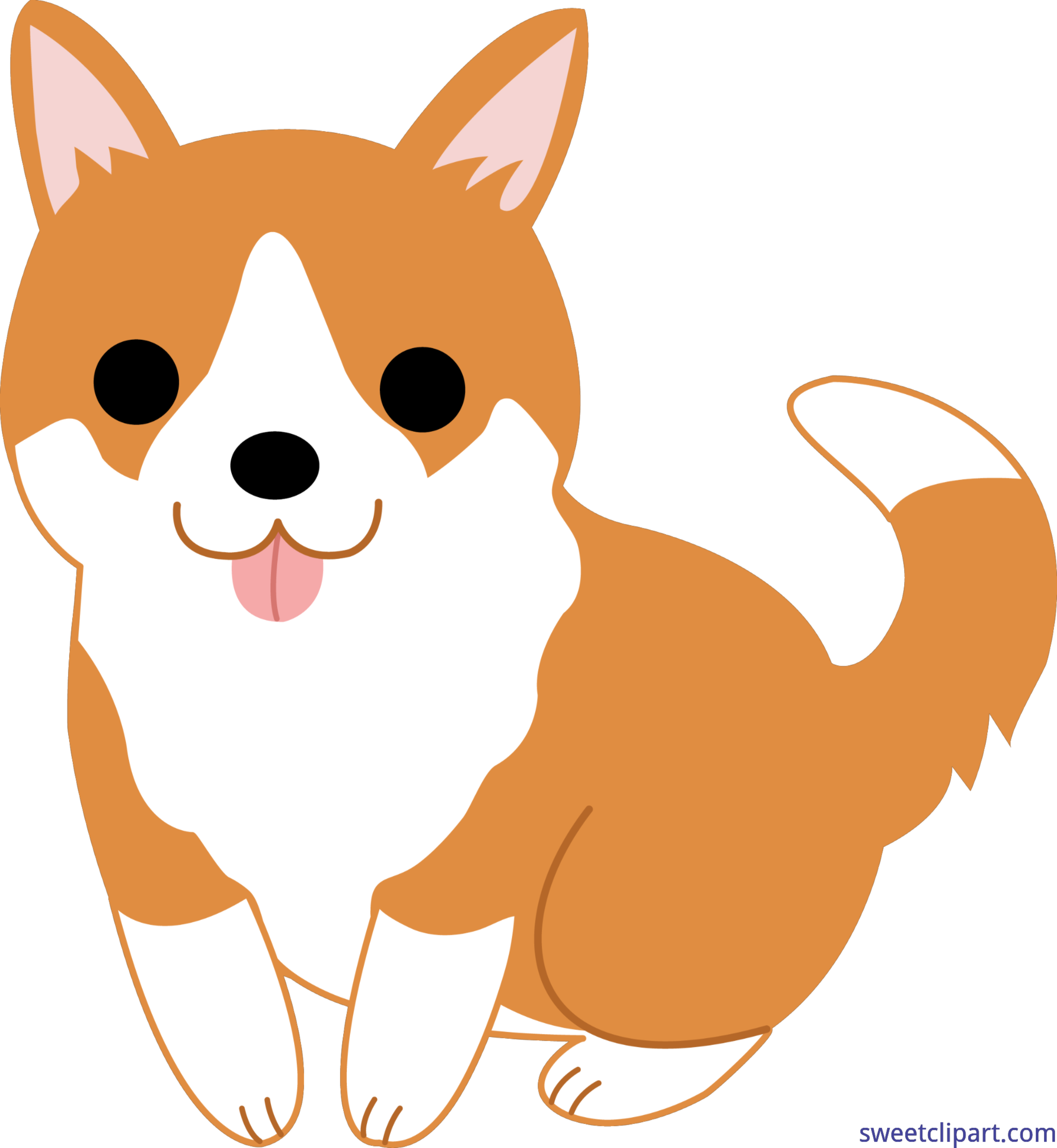 Cute puppy clip art. Corgi clipart jpg black and white library