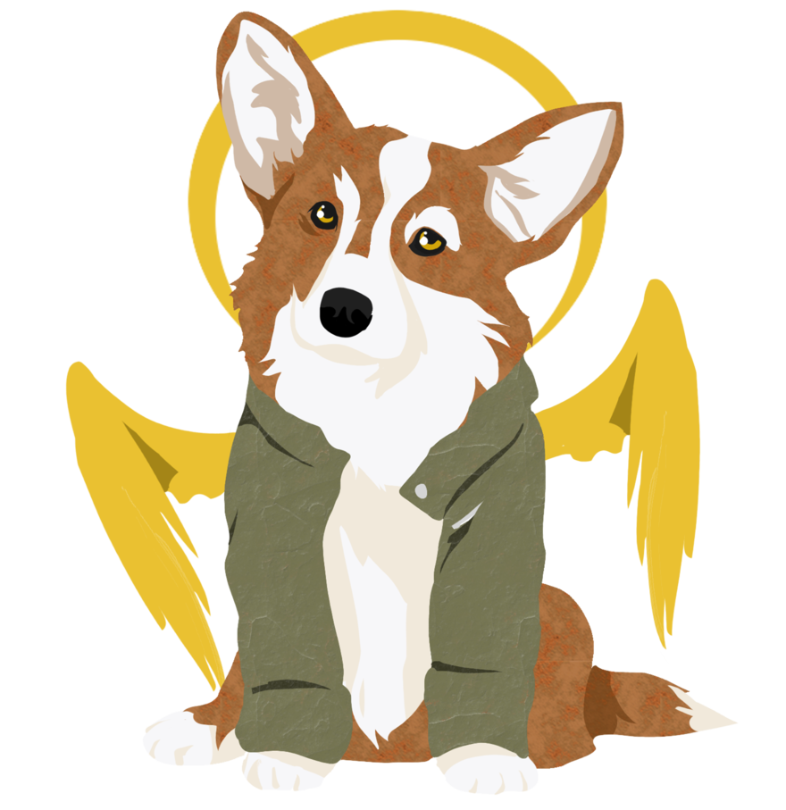 Corgi sleeping png. With wings by iamthetwickster