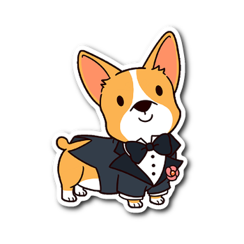 Dog sticker png. Corgi groom wedding vinyl