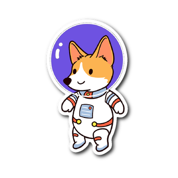 Dog sticker png. Corgi astronaut vinyl the