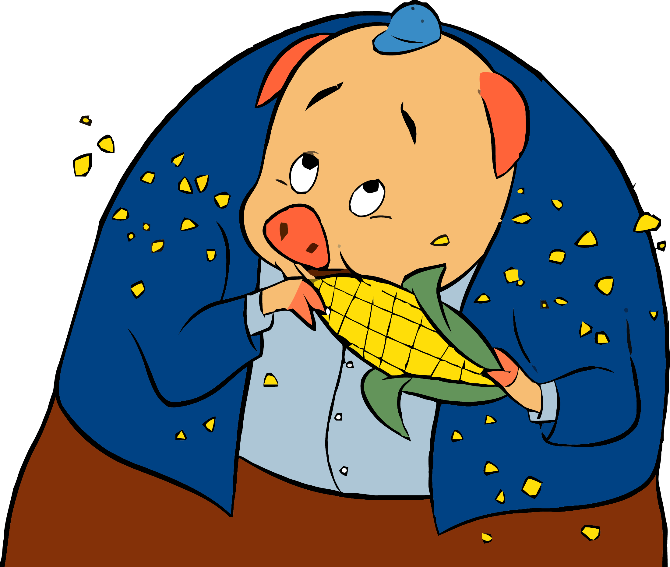 Corn clipart small. Chicken little pig png