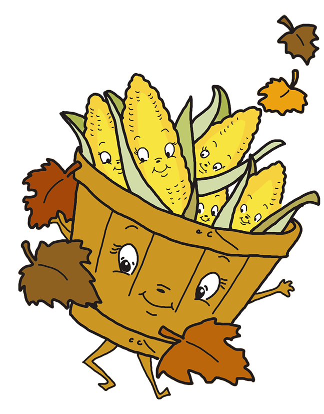 Corn clipart thanksgiving. Happy basket with