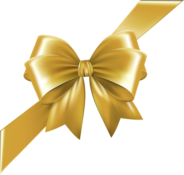 Gold ribbon bow png. Corner with transparent image