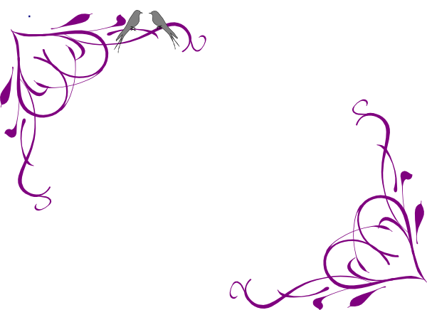 Corner filigree clip art png. Purple flower borders and