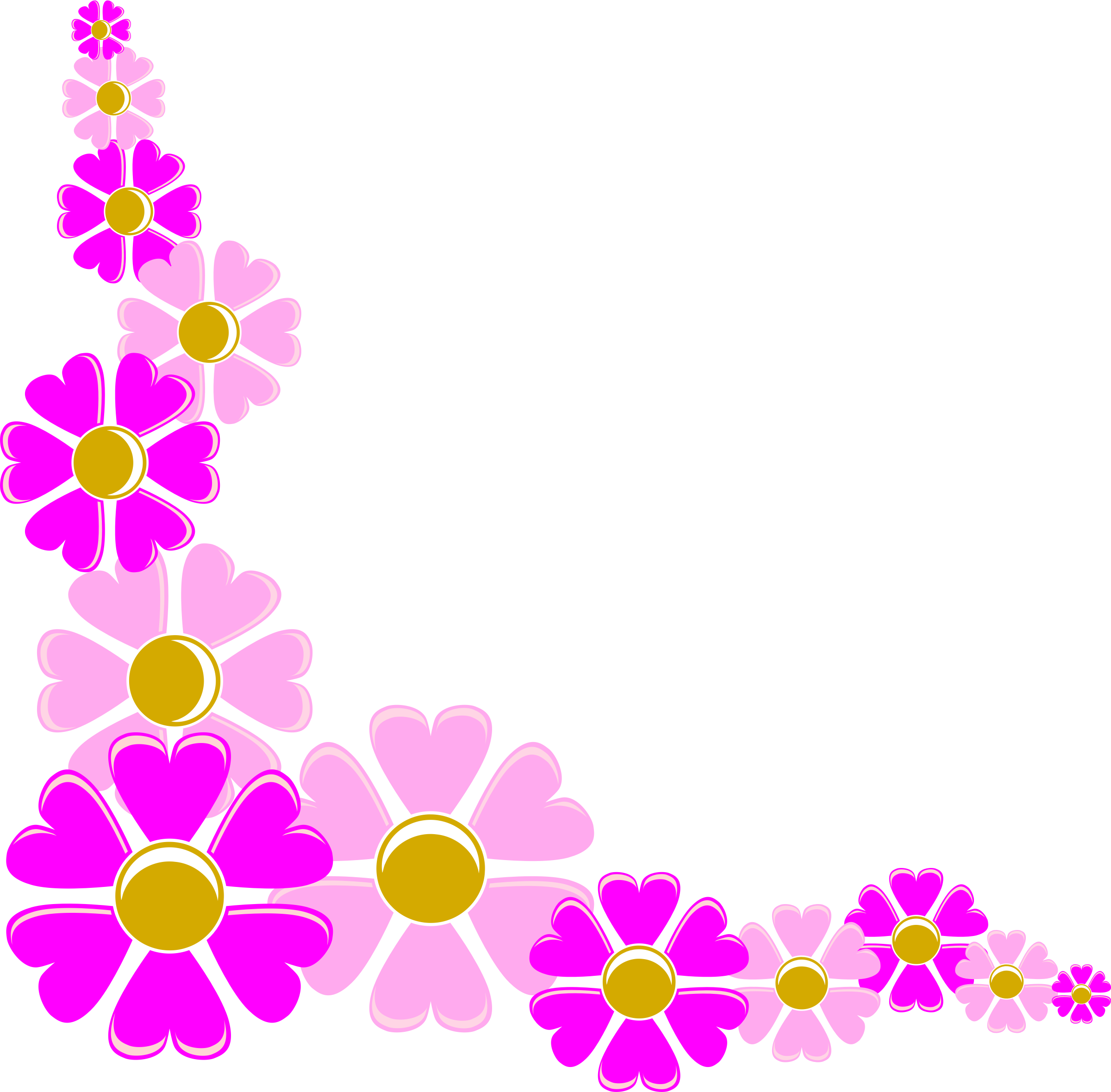 Corner flower png. Pink icons free and