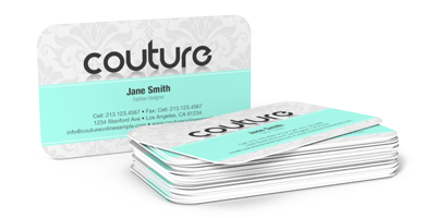 Corner transparent card. Rounded business cards low