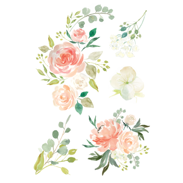Corner transparent watercolor floral. Free flower graphic