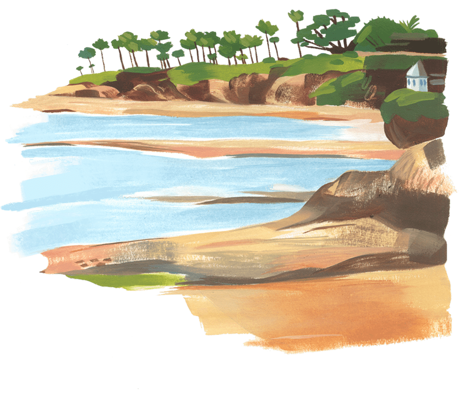 Natural drawing beach. The five battlefields for