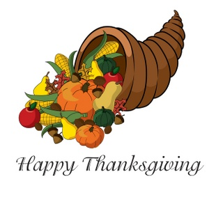 Cornucopia clipart thanksgiving feast. A with happy message