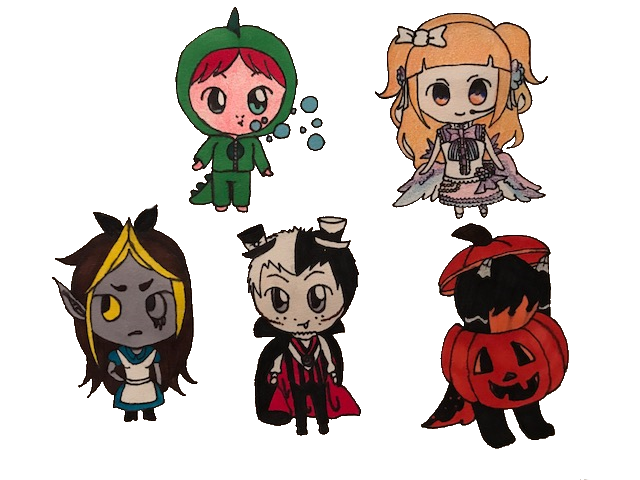 Costume drawing stitch. Halloween chibis by stitchcutie