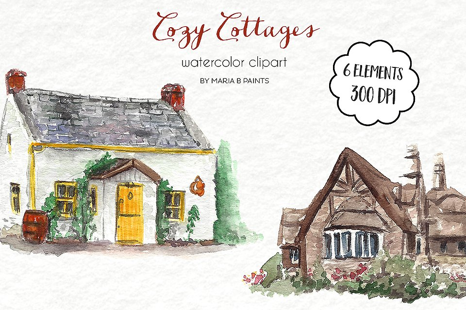 Watercolor Clip Art - Cottages ~ Illustrations ~ Creative Market