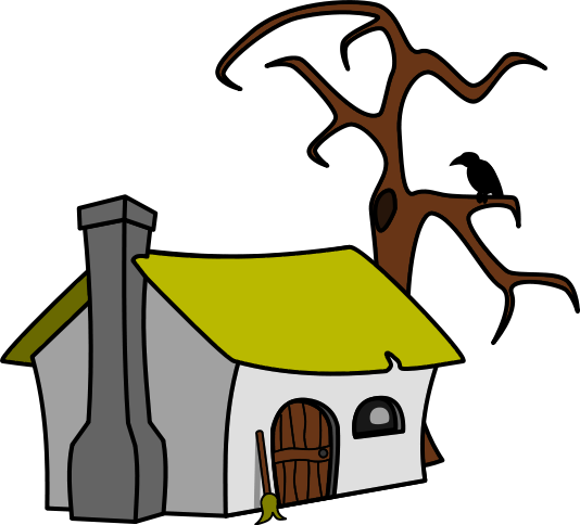 This witch clip art. Cottage clipart picture library download