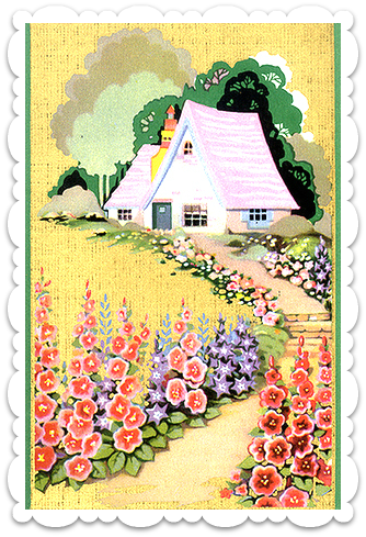 Cottage clipart front garden. The brocantehome manifesto vintage