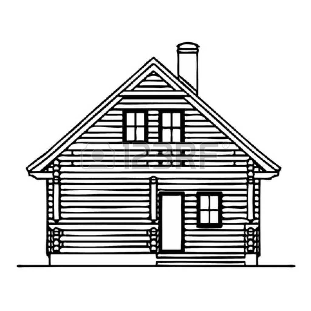 Cottage clipart kid. Of house in black